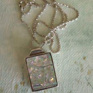 Chic Irridescent Glass Stirling Silver Pendant